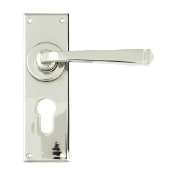 From The Anvil Avon Euro Lock Door Handle Polished Nickel