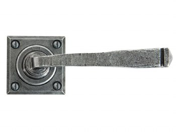 From The Anvil Avon Square Rose Door Handles Pewter Sprung