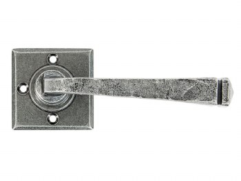 From The Anvil Avon Square Rose Door Handles Pewter Unsprung