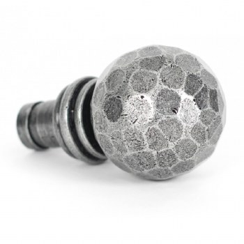 From The Anvil Beaten Ball Curtain Finial Pewter