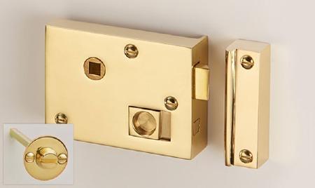 "Bathroom Rim Latch with Emergency Release 4"" Polished Brass LH"