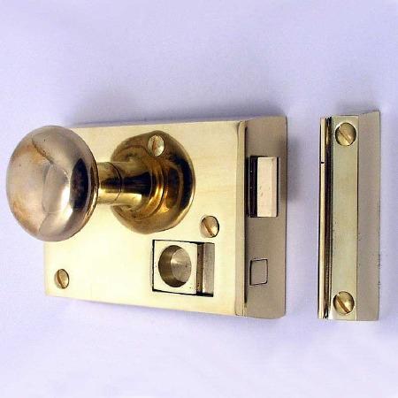 "Bathroom Rim Latch 4"" Polished Brass Unlacquered LH"