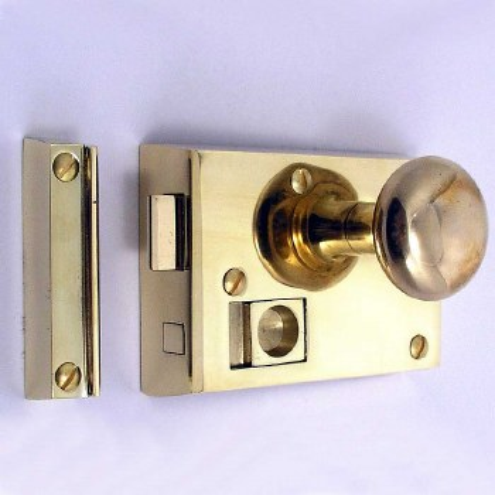 """Bathroom Rim Latch 4"""" Polished Brass Unlacquered RH"""