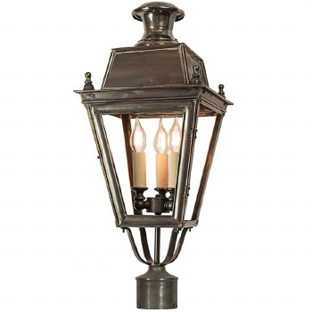 """Balmoral Lamp Post Head for 2"""" dia. Antique Brass"""