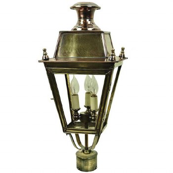 "Balmoral Lamp Post Head for 2"" dia. Light Antique Brass"