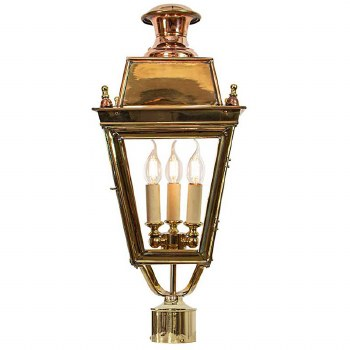 """Balmoral Lamp Post Head for 2"""" dia. Polished Brass"""