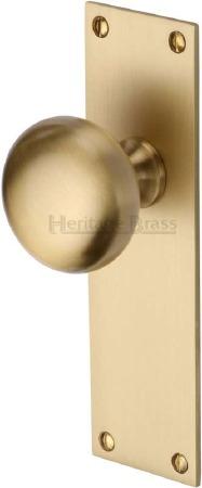 Heritage Balmoral Door Knobs Lever Latch BAL8510 Satin Brass