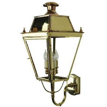 Balmoral Large Wall Lantern 3 Light Cluster Polished Brass Unlacquered