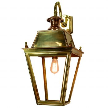 Large Balmoral Outdoor Wall Down Lantern Polished Brass Unlacquered
