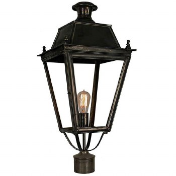 """Balmoral Large Lamp Post Head to suit 3"""" dia. Antique Brass"""