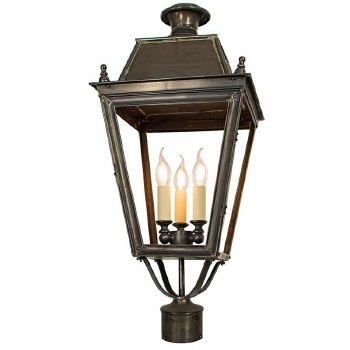"""Balmoral Large Lamp Post Head for 3"""" dia. Antique Brass"""