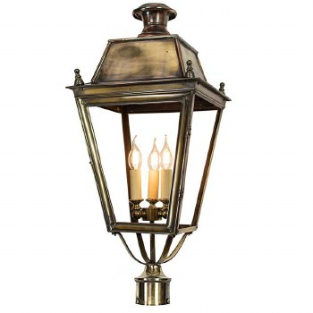 """Balmoral Large Lamp Post Head for 3"""" dia. Renovated Brass"""