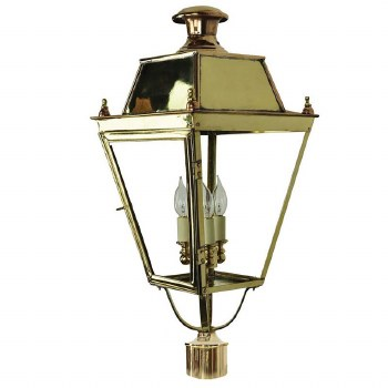 """Balmoral Large Lamp Post Head for 3"""" dia. Polished Brass"""