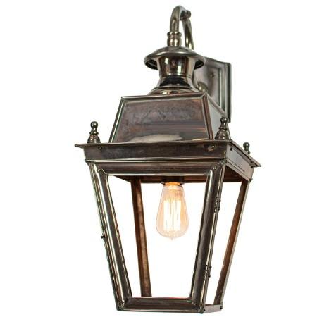 Balmoral Outside Wall Lantern Overhead Arm Antique Brass