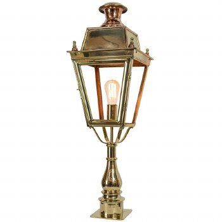 Balmoral Tall Pedestal Lantern Polished Brass Unlacquered