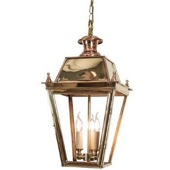 Balmoral Pendant with 3 Light Cluster Lantern Polished Brass Unlacquered