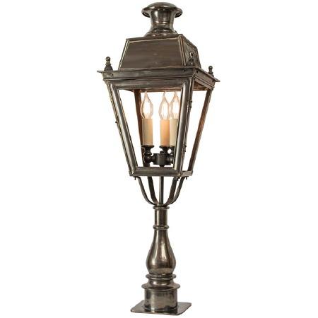 Balmoral Tall Pillar Lantern with 3 Light Cluster Antique Brass