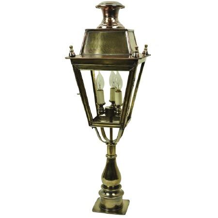 Balmoral Tall Pillar Lantern with 3 Light Cluster Renovated Brass