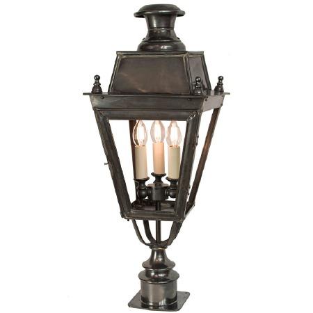 Balmoral Short Pillar Lantern with 3 Light Cluster Antique