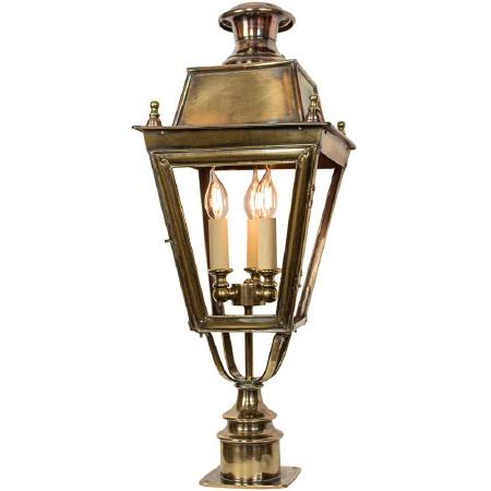 Balmoral Short Pillar Lantern with 3 Light Cluster Renovated Brass