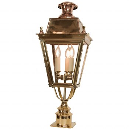 Balmoral Short Pillar Lantern with 3 Light Cluster Polished Brass Unlacquered