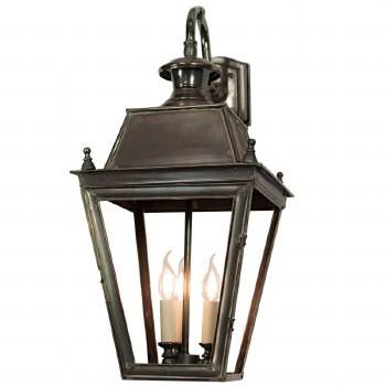 Large Balmoral Outdoor Wall Down Lantern 3 Light Cluster Antique Brass