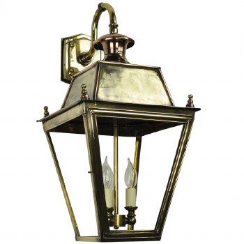 Large Balmoral Outdoor Wall Down Lantern 3 Light Cluster Renovated Brass