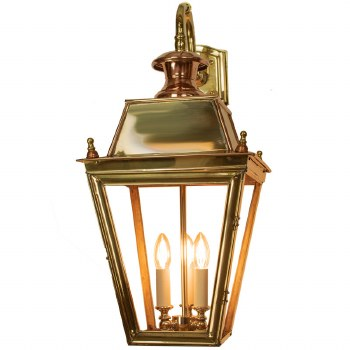 Large Balmoral Outdoor Wall Down Lantern 3 Light Cluster Polished Brass Unlacquered