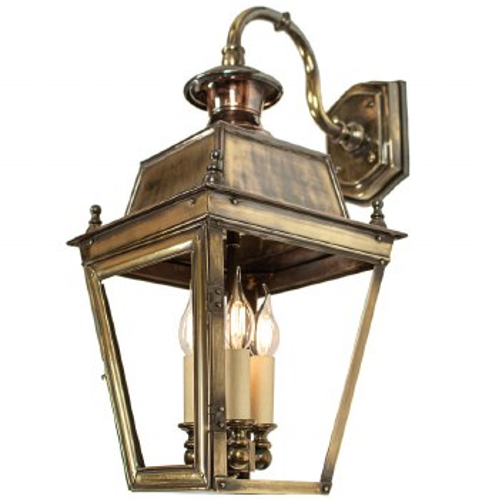 Balmoral Overhead Wall Lantern 3 Light Cluster Renovated Brass