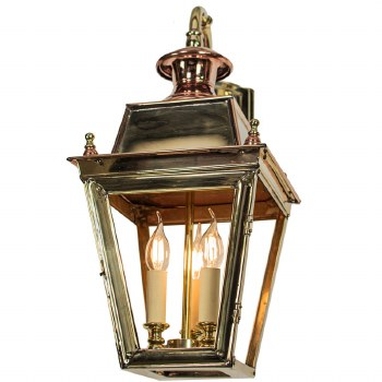 Balmoral Overhead Wall Lantern 3 Light Cluster Polished Brass Unlacquered
