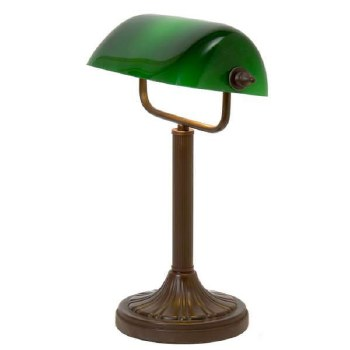 Bankers Table Lamp Metal Antique