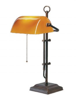 Bankers Table Lamp Bronzed Brass with Cognac Shade