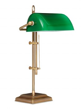 Bankers Table Lamp Burnished Brass with Green Shade