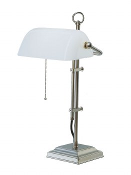 Bankers Table Lamp Satin Nickel with Opal Shade