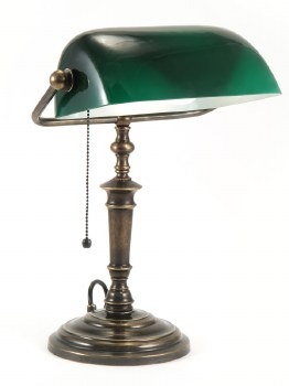 Bankers Desk/Table Lamp - Green & Bronze