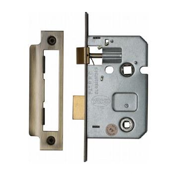 "Heritage Bathroom Lock YKBL2 Antique Brass 2.5"""
