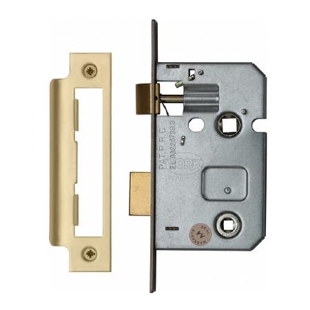 """Heritage Bathroom Lock YKBL2 Satin Brass 2.5"""""""