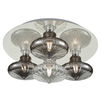 Bathroom Ceiling 4 Light Chrome with Clear & Smoked Glass