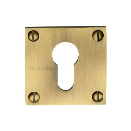 Heritage BAU1558 Square Euro Escutcheon Antique Brass Lacquered