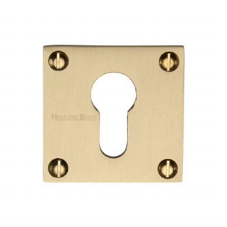 Heritage BAU1558 Square Euro Escutcheon Satin Brass Lacquered