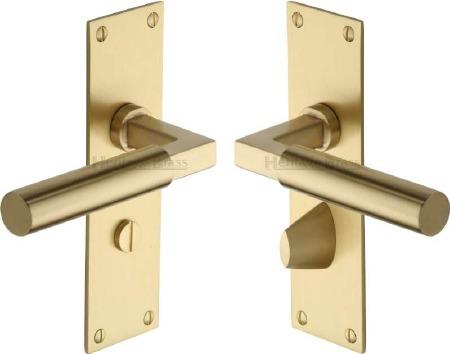 Heritage Bauhaus Bathroom Door Handles BAU7330 Satin Brass Lacq
