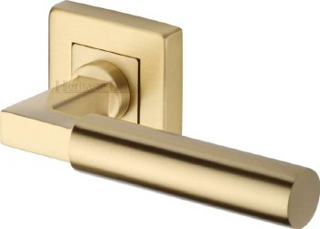 Heritage Bauhaus Sq Rose Door Handles SQ1926 Satin Brass Lacq