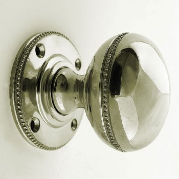 Aston Beaded Bun Door Knobs Polished Nickel 44mm