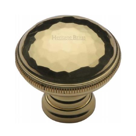 Heritage Beaten Cabinet Knob C4545 Polished Brass