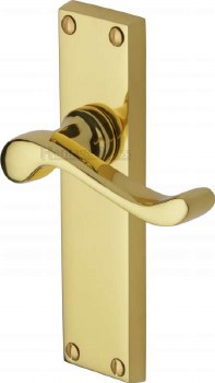 Heritage Bedford Latch Door Handles V803 Polished Brass Lacquered