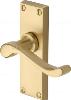 Heritage Bedford Short Plate Door Handles V800 Satin Brass Lacquered