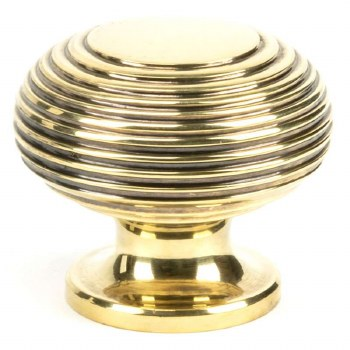 From The Anvil Beehive Cabinet Knob Aged Brass Large