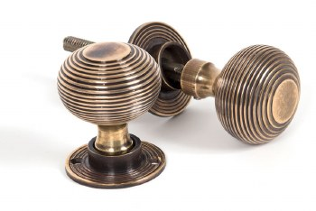 From The Anvil Heavy Beehive Mortice or Rim Door Knobs Aged Brass