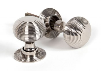 From The Anvil Heavy Beehive Mortice or Rim Door Knobs Polished Nickel