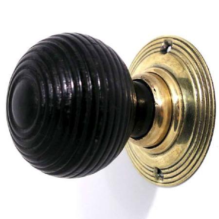 Beehive Mk 1 Wooden Mortice/Rim Door Knobs Ebonized Wood & Brass